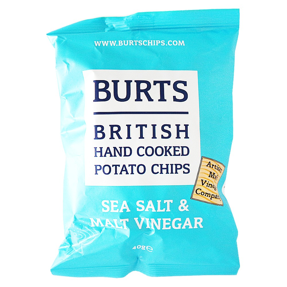 Burts British Hand Cooked Potato Chips(Sea Salt&Malt Vinegar) 40g