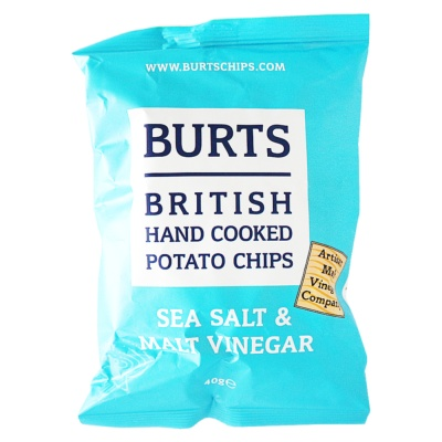 Burts British Hand Cooked Potato Chips(Sea Salt&Malt Vinegar) 40g