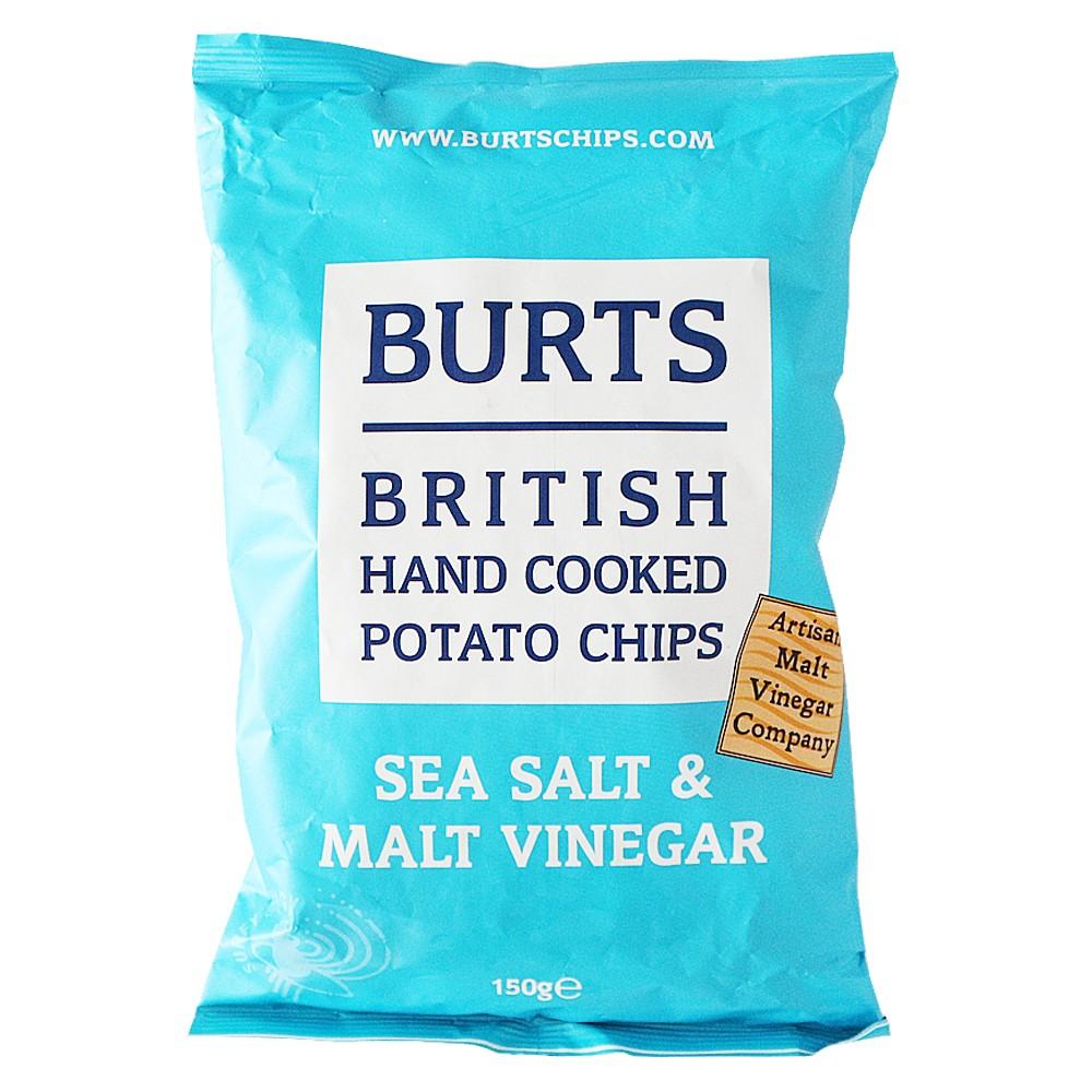 Burts British Hand Cooked Potato Chips(Sea Salt&Malt Vinegar) 150g