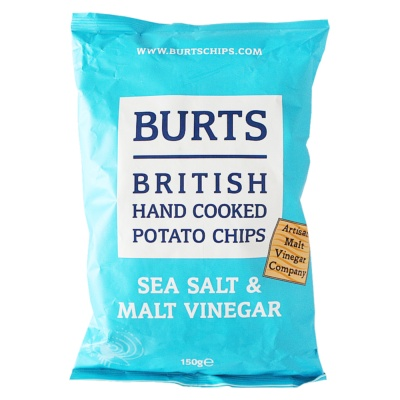 Burts British Hand Cooked Potato Chips(Sea Salt&Malt Vinegar) 150g
