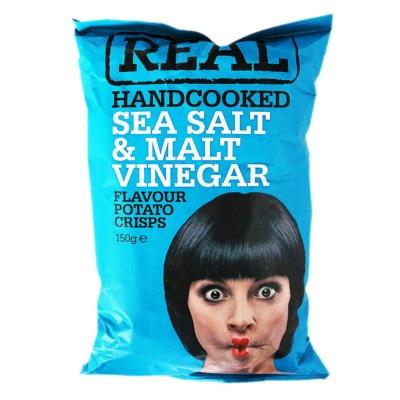 Real Sea Salt Malt Vinegar Handcooked Chips150g