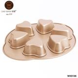6 Cup Non-Stick Heart Cake Pan 566g - 1