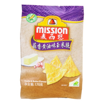 Mission Garlic & Butter Corn Chips 170g