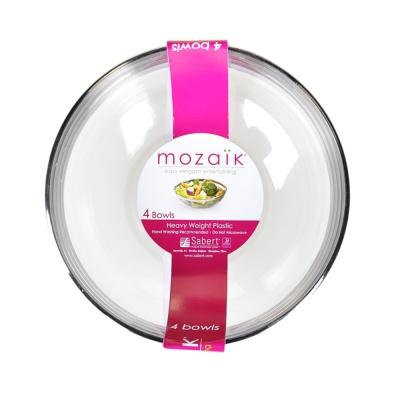 Sabert Mozaik 14oz Of Silver Side Transparent Bowl 4pieces