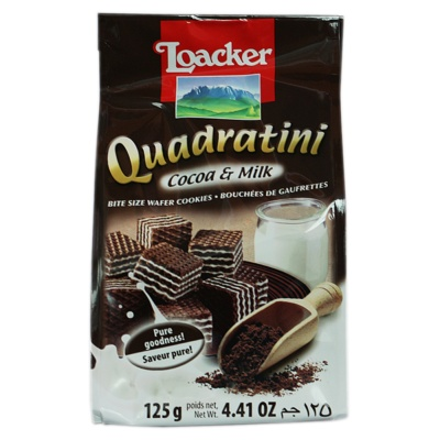 Loacker Cocoa & Milk Bite Size Wafer Cookies 125g