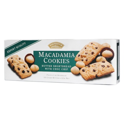 Pinnacle Macadamia Cookies Butter Shortbread With Chocolate Chips 125g