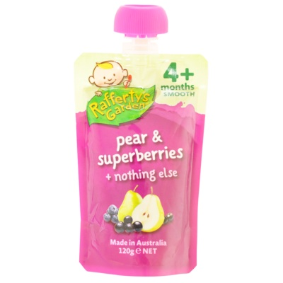 Rafferty's Garden Infant Pear & Superberries Flavored Puree 120g