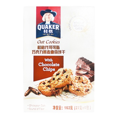 Quaker Oat Cookies With Chocolate Chips 162g