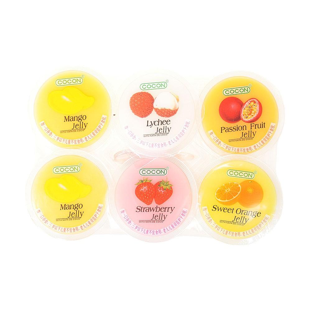 Cocon Multi-Flavored Jelly(With Nata De Coco) Mango.Lychee.Passion Fruit.Strawberry.Orange 6*80g